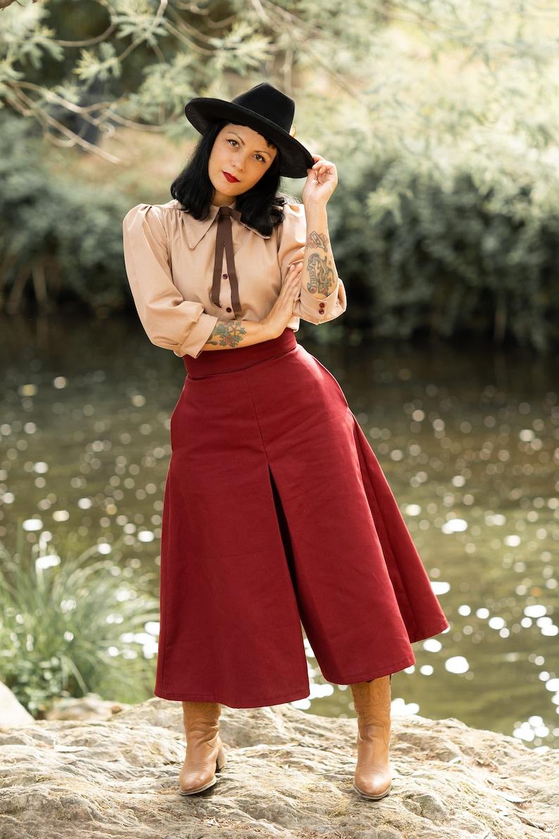 1940s Swing Pants & Sailor Trousers- Wide Leg, High Waist Culottes / Organic Cotton Culottes / 1940s Western Culottes /40s western Culottes / Western Culottes / culottes pants $165.16 AT vintagedancer.com