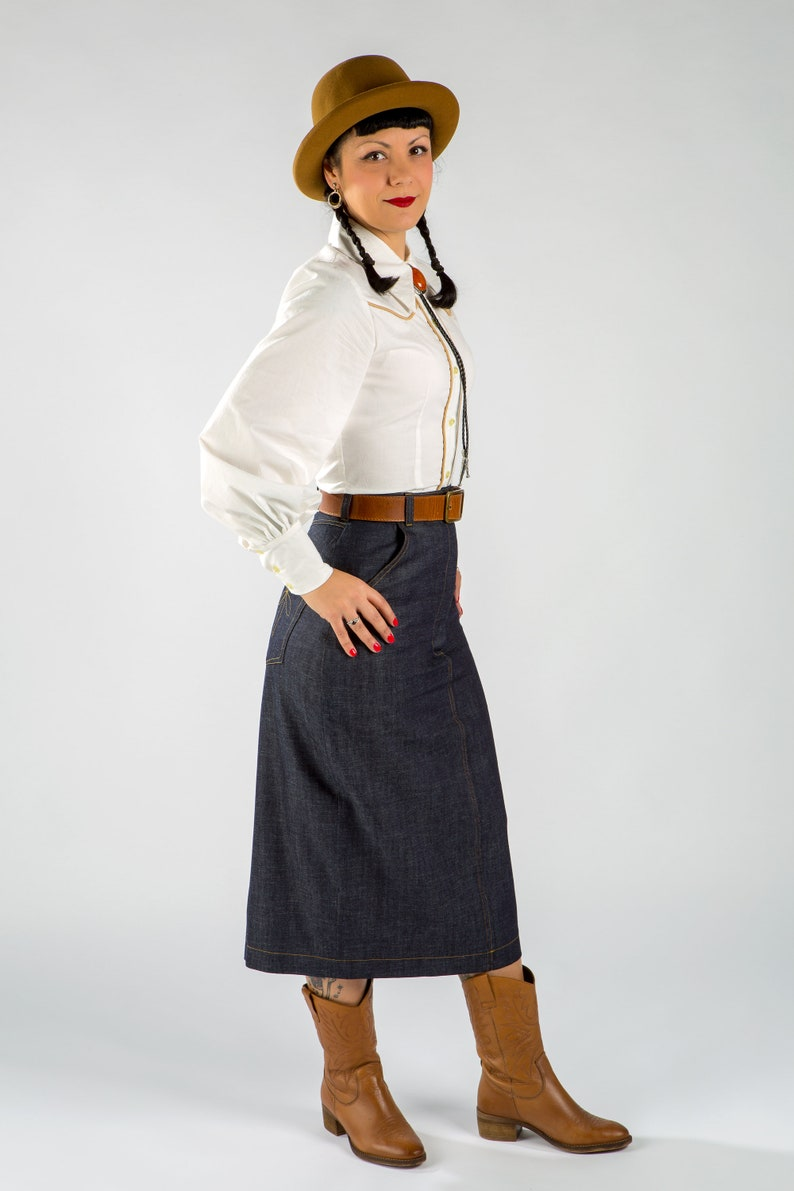 Vintage Western Wear Clothing, Outfit Ideas     Western Shirt / 1940s Western Shirt / Women Western Shirt / Bishop sleeves shirt /1940s women western shirt $119.37 AT vintagedancer.com