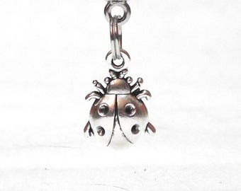 Adorable European Charm Bracelet Antique Silver-Tone Ladybug Charm 30mm x 13mm B00033
