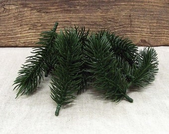Very Pretty, Deep Green, Soft and Realistic Evergreen Picks - In a Package of 10 Stems