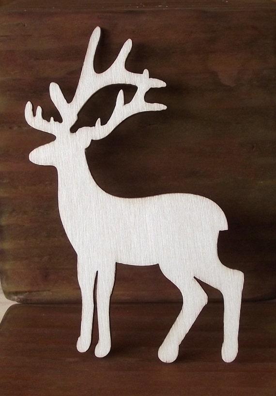 wood wild animal cutouts of a buck bull elk etsy