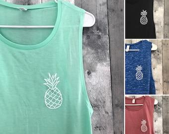 White Pineapple Shirt l Pineapple Shirt l Pineapple Tee l Women's Graphic Tees l Aloha l Pineapple Express l Women's Tank Top