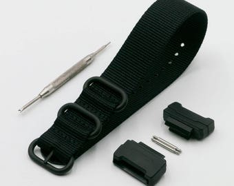 2ad164a1c503e2 G-Shock Coal Black Ballistic Nylon Nato Watch Strap (24mm) with G Shock  Adapter (16mm), Spring Bars and Tool