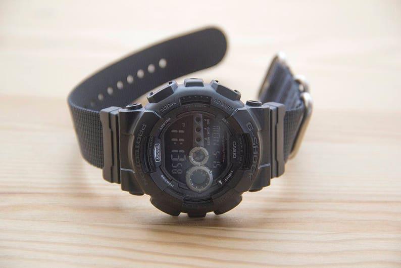 779f456d95a G-Shock Coal Black Ballistic Nylon Nato Watch Strap 24mm