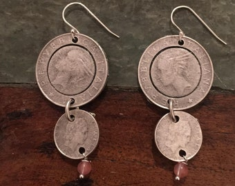 Double coin earrings with semi precious stone detail