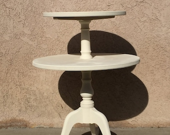 Round Shabby Chic Table with revolving top-Annie Sloan Old White