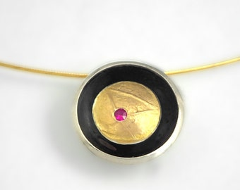 Feminine round gold and oxidized silver pendant with a genuine ruby and a textured golden surface, Gift for her, Small ruby necklace.