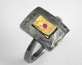 The switch! A rectangular gold and silver ring with a small genuine ruby, Two tone ring, A modern ring, Handcrafted ring, Rectangular ring.