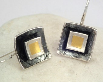 Geometric gold and silver earrings with textured surface and patina, Gift for her, Square earrings, Mixed metal earrings, Handmade earrings.