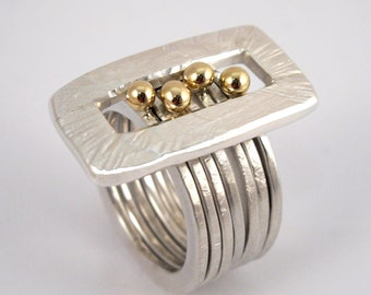 Stackable ring 7 in 1, hammered, mode of gold and silver with studded gold granules, Multi band ring, Many band ring, Gift for her.