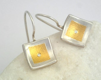 Elegant geometric earrings with small diamonds and hammered surface, Textured earrings, Square earrings, Gift for her, Gold silver earrings