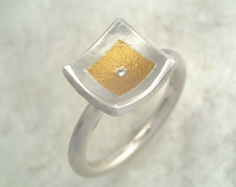 Small diamond square ring made of gold and silver, Two tone ring, Hammered ring, Silver and gold ring, Textured ring,