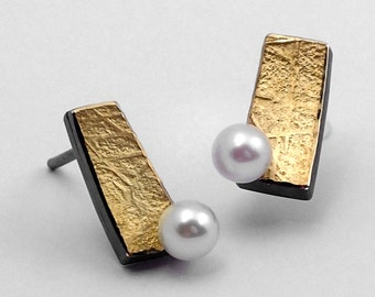 Rectangular gold and silver stud earrings with a pearl, Textured earrings, Silver and gold earrings, Handcrafted earrings,Geometric earrings