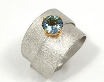 Argentium silver solitaire engagement ring with an aquamarine stone, Silver wrap ring, Textured ring, Artisan ring, Alternative engagement.