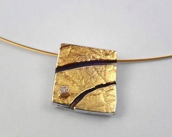 Babylon between Tigris and Euphrates in ancient Mesopotamia. Modern square pendant with curvy channels and a diamond.