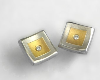 Minimal classy  gold and silver stud earrings with diamond. Memorable earrings for every occasion.