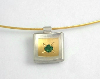Minimal charm necklace made of gold and 925 silver and a tsavorite gemstone, Square charm, Tsavorite charm, Gift for daughter, Gift for her