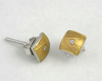 Gold and silver minimal stud earrings with a diamond, hammered to have a texture, Small square earrings, Mixed metal earrings, Gift for her