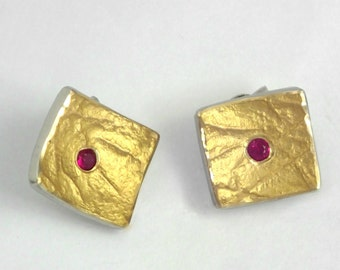 Modern gold and silver stud earrings with a genuine ruby, Geometric earrings, Handcrafted earrings, Minimal stud earrings, Gift for her.
