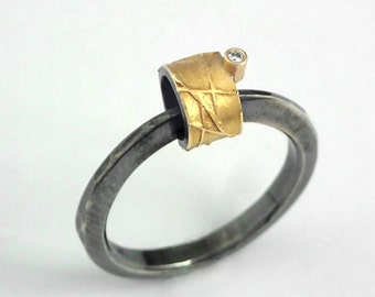 A hobbit's house. Modern gold and oxidized silver ring decorated with a small diamond, Gift for her, Textured ring, Handmade rings.