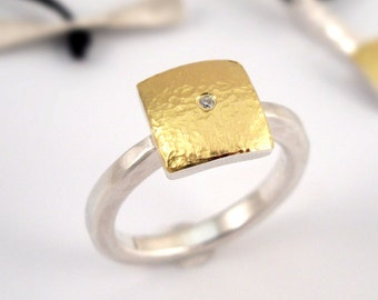 Modern square ring made of 22K gold and 925 silver, decorated with a small diamond, Hammered ring, Geometric ring, Gift for her.