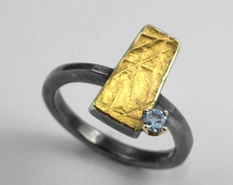 Beautiful rectangular patina ring with an aquamarine stone, Geometric ring, Oxidized ring, Textured ring, Gift for her, Gift for daughter.