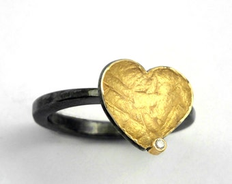 A gold heart! Gold and silver heart ring with textured surface, hammered band and a small diamond, Oxidized silver ring, Gift for her.