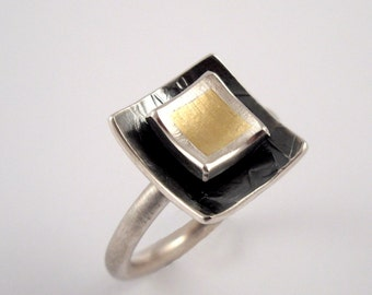 Two level, two tone square gold and silver ring with oxidized silver, Mixed metal ring, Geometric ring, Gold black ring.