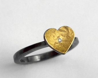 Minimal gold and oxidized silver heart ring with a small diamond and a hammered band, Textured ring, Artisan love ring, Gift for her