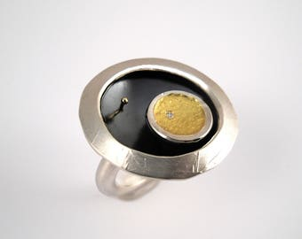 Modern oxidized silver ring with 22K gold fused on silver, Hammered ring, Two-tone ring