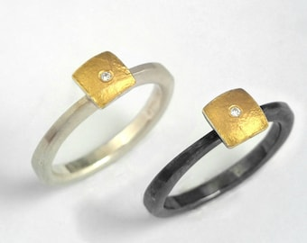 Gold and silver minimal square ring decorated with a small diamond, Hammered band, Oxidized silver ring, Gift for her, Handcrafted ring.
