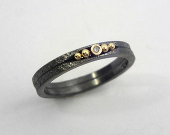 An oxidized silver ring with a diamond and studded 18K gold granules, A double band ring, Patina ring, Handcrafted jewelry, Texture jewelry
