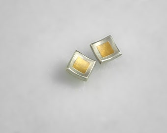 Minimal square stud earrings with 22K gold fused on 925 silver, Gold and silver earrings, Minimal earrings, Geometric earrings, Gift for her