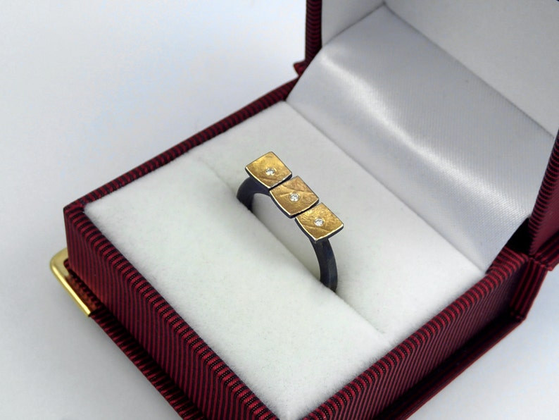 A triple square gold and oxidized silver statement ring with optional diamonds textured surface and a hammered band Gift for daughter.
