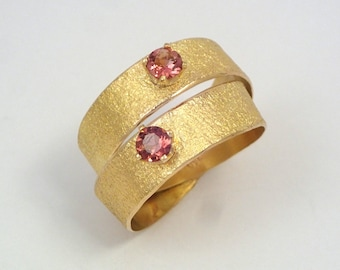 Gold wide band ring, an alternative engagement ring with double band two pink tourmaline stones and hammered surface, Gold warp ring.
