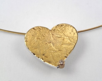 Maxi size of the gold and silver heart pendant with a small diamond and a textured surface, Heart necklace, Textured necklace, Gift for her.