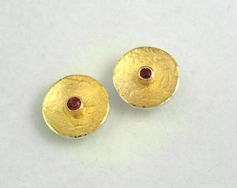Classy gold and silver round earrings with a pink tourmaline stone and a textured surface, Geometric earrings, Pink tourmaline earrings.