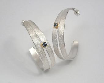 Argentium silver earrings with an aquamarine gemstone with textured surface, Aquamarine earrings, Pink tourmaline earrings, Hoop earrings.