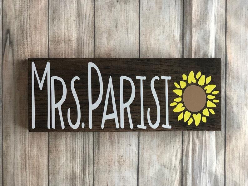 teacher gift teacher  desk sign sunflower teacher print font Teacher gift sunflower teacher gift Teacher name sign