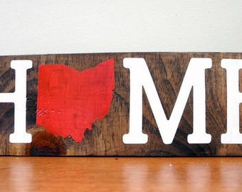 Wood Home State sign decor
