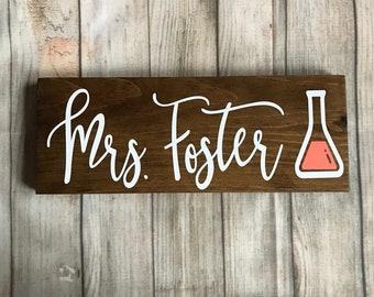 Science Teacher gift, Teacher name sign, teacher desk sign, optional pen holder, teacher gift, teacher graduation gift, chemistry teacher