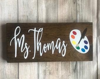 Art Teacher gift, Teacher name sign, teacher desk sign, optional pen holder, teacher gift, teacher graduation gift, paint teacher