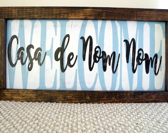 Rustic Customized Welcome Sign Framed