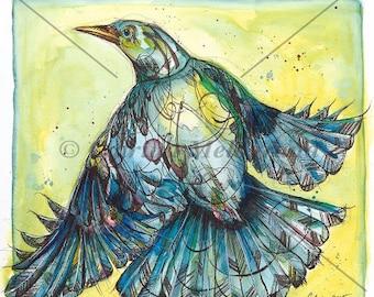 Watercolor blue bird