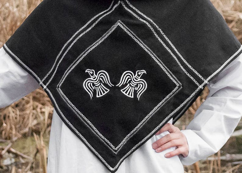 Viking hood Pagan clothing Norse LARP Cape viking reenactment Viking  clothes viking costume medieval clothing linen Scandinavian odin raven