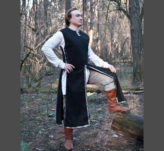 Medieval Renaissance Clothing Tunic Blue Knight Sleeveless Surcoat SCA Larp