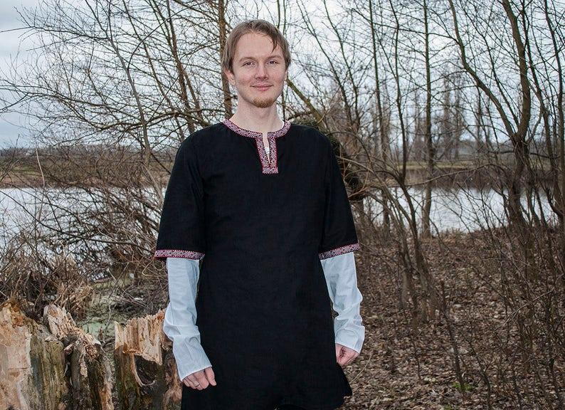 Viking tunic LARP tunic Viking clothing Viking shirt medieval tunic  medieval clothing Medieval shirt Slavic linen tunic Viking costume