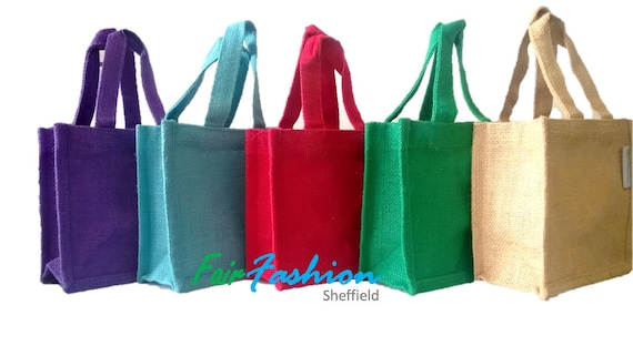 Gift bag Pouch Jute Hessian Colourful Medium Lunch Natural /& BioDegradable