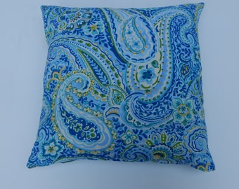Paisly pillow cover, bright and cheerful in any room.