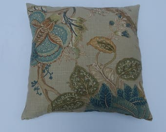 Floral and Paisly print, Pillow Cover, Tan, Aqua, gold, green,Traditional print, formal